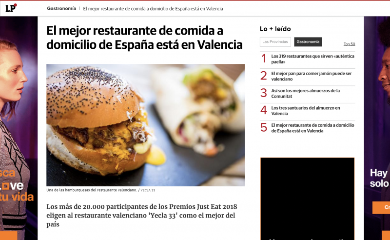 Los medios de comunicación hablan de nuestro premio a mejor restaurante de comida a domicilio de España
