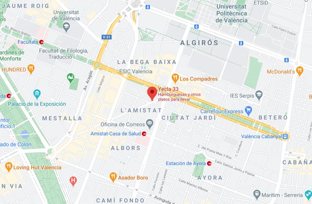 fotografía de google maps con la ubicación de yecla 33